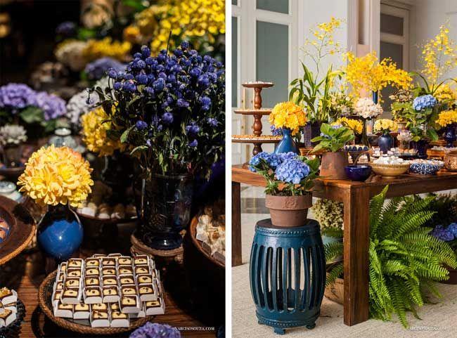 decoracao azul royal e amarelo casamento:Decoração para casamento nas paletas de cores azul e amarelo