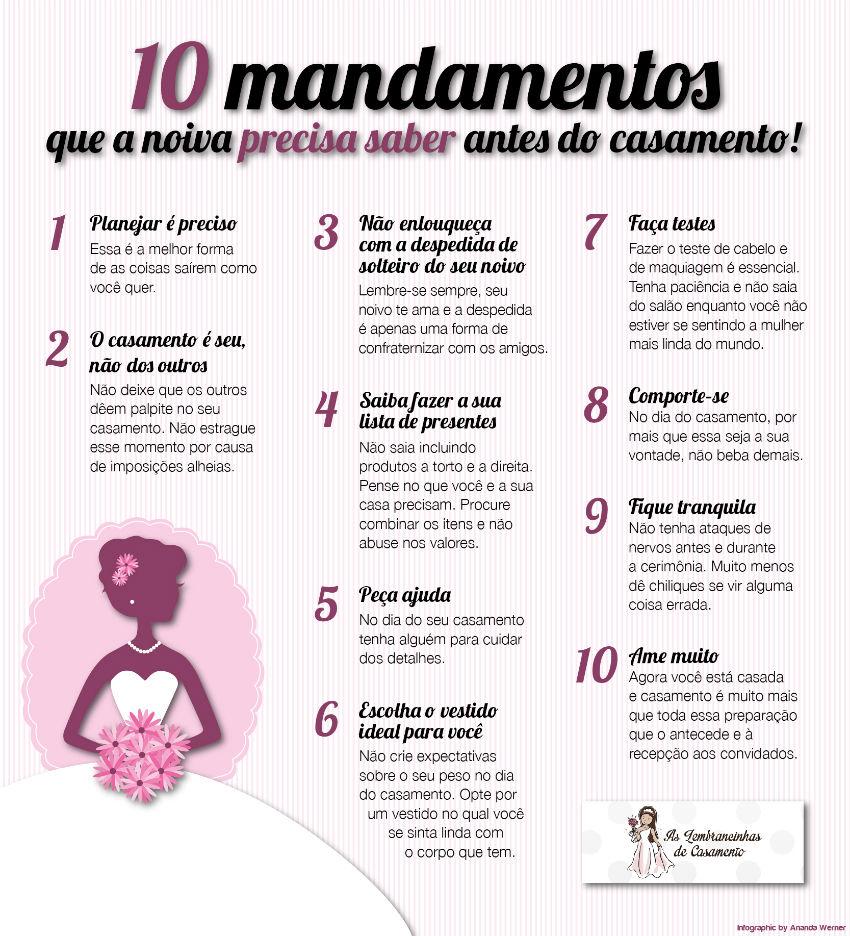 Conhecido 10 mandamentos que a noiva precisa saber antes do casamento XL67