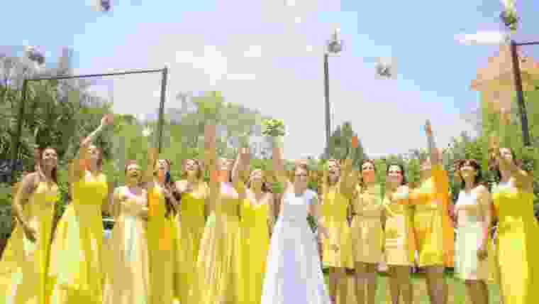 madrinhas de vestido amarelo