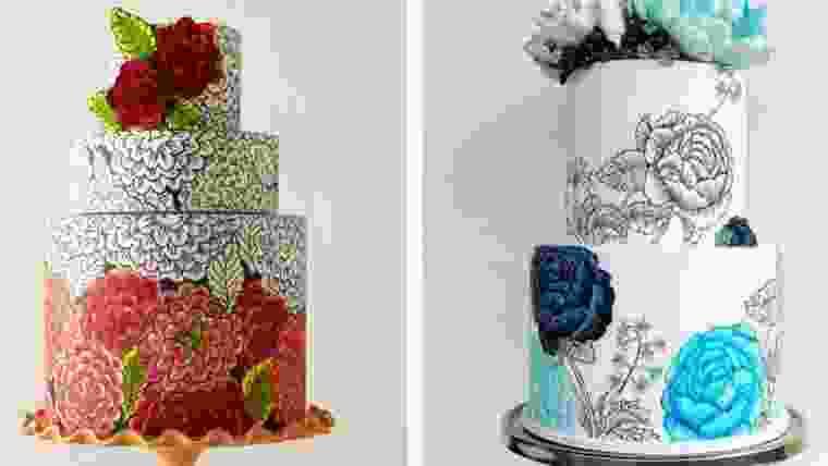 bolos de noiva pintados a mão