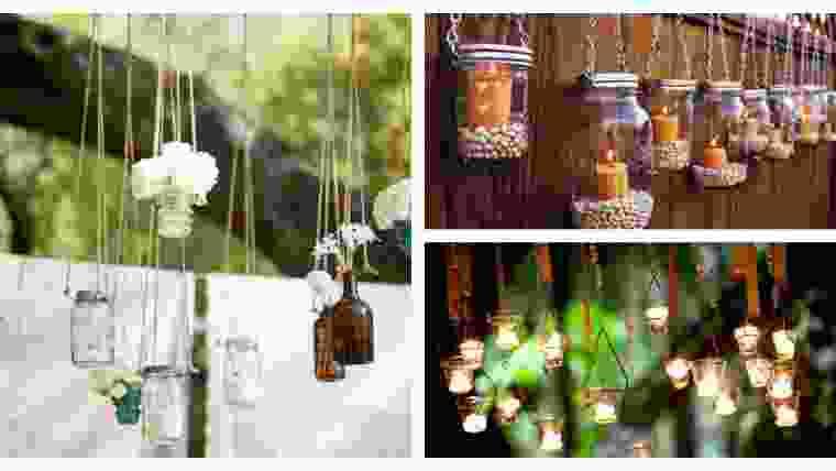 DIY velas suspensas em frasco de pedreiro