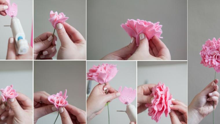 arranjos de flores em feltro