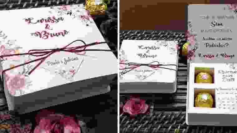 Convites caixinhas personalizadas para padrinhos